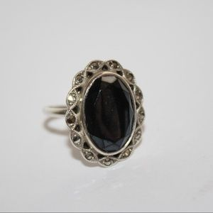 .925 Hematite and Marcasite Ring size 8 Large